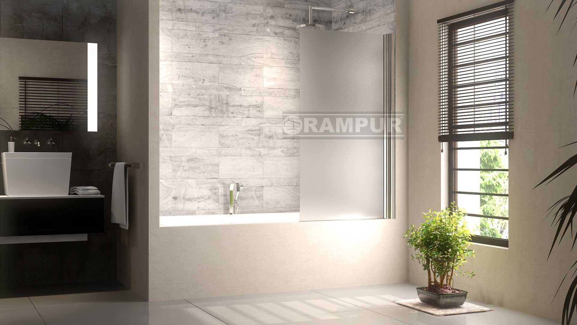 Puerta Baño Hacia Afuera:RAMPUR® Mampara Baño Rebatible Vidrio IGUAZU Premium