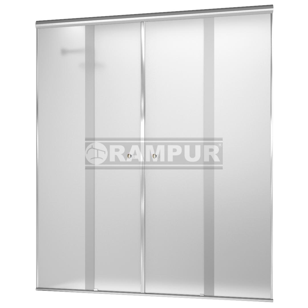 RAMPUR® :: SHOPPING Mampara De Ducha 4 Hojas Satén/ Plata