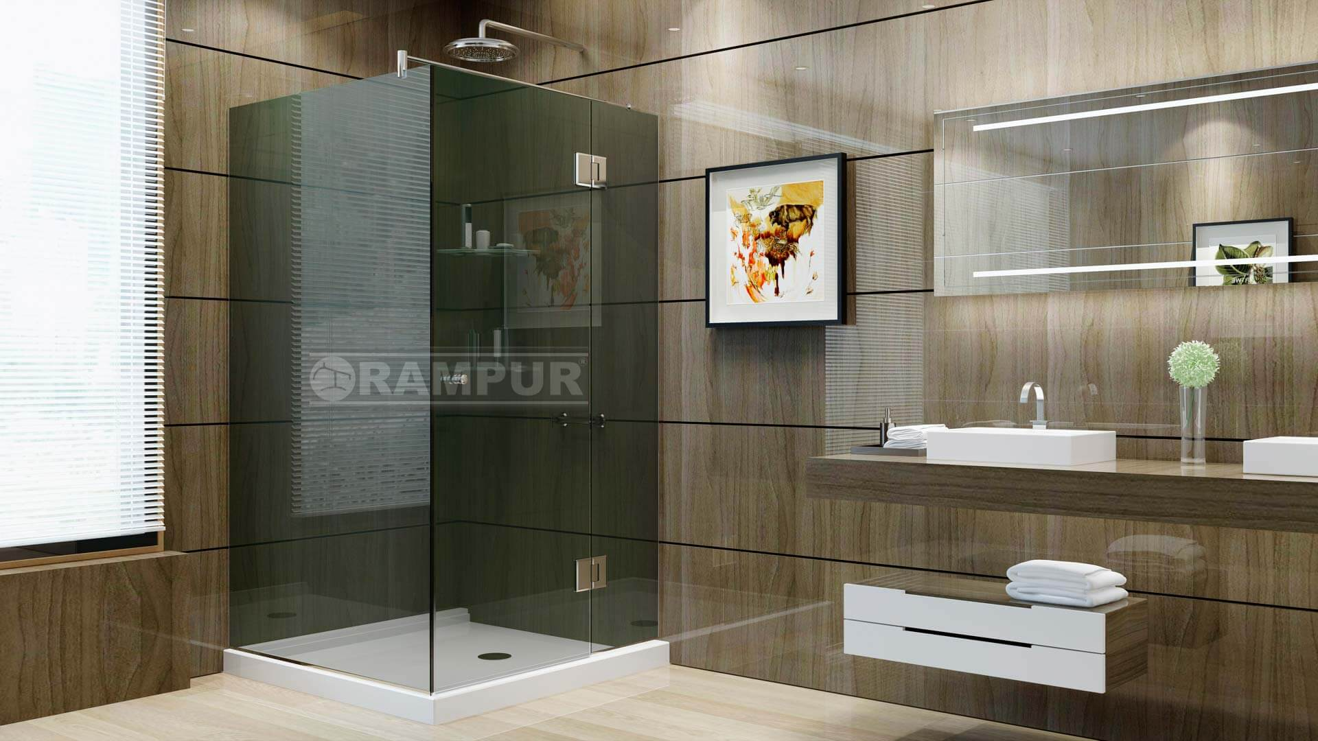 Rampur box para ducha con pa o huemul premium Receptaculo ducha a medida