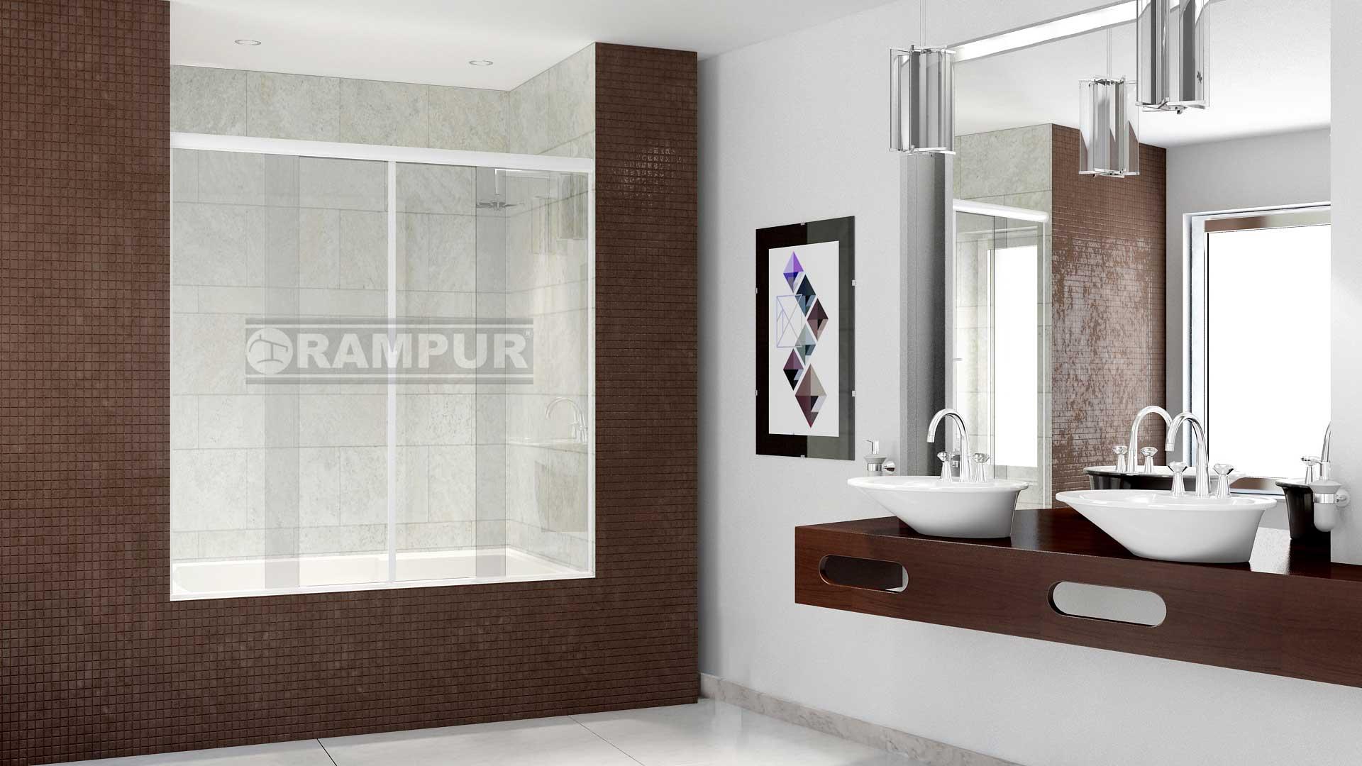 Rampur mamparas para ba eras vidrio lacar est ndar for Mamparas para baneras